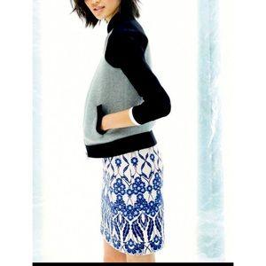 J Crew cotton Trellis Blue & Cream A Line Skirt